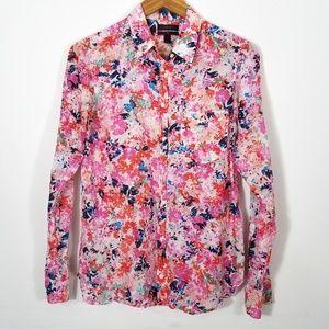 J. Crew Boy Shirt Silk Brushstroke Marigold Floral